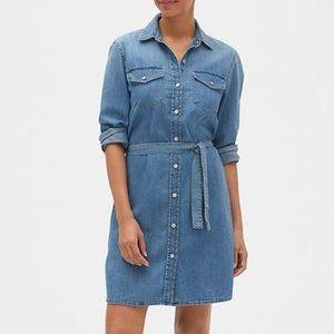 GAP 1969 Belted Chambray Denim Western Shirtdress